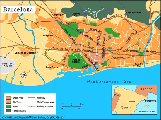 Holiday Map Of Spain.Map Of Barcelona Map For Planning Your Holiday In Barcelona