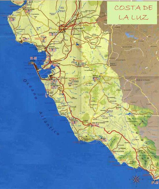Costa De La Luz Spain Map.Costa De La Luz Map