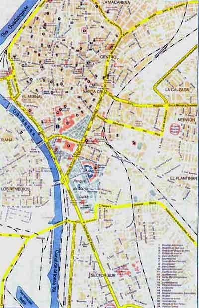 Street Map of Seville, Seville Street Map, Street Map Seville